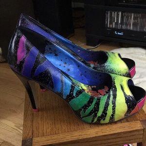 Iron Fist Multicolored Zebra Print Peep Toe Heels